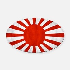 2-Japanese_War_Grunge_Flag_by_thin Oval Car Magnet