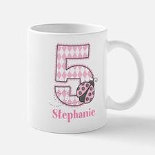 Personalized Pink Ladybug 5th Birthday Mugs