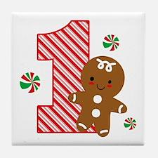 Gingerbread Boy 1st Birthday Tile Coaster