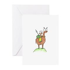 monkey riding a llama Greeting Cards (Pk of 10