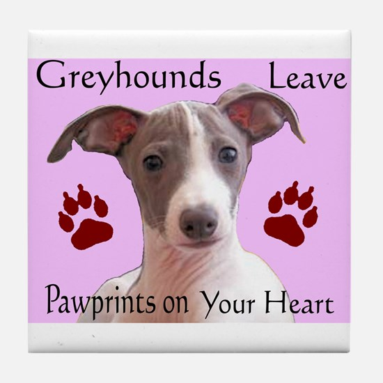 Pawprints on your heart Tile Coaster
