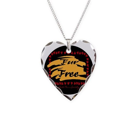 FUR FREE BUTTON2 Necklace Heart Charm