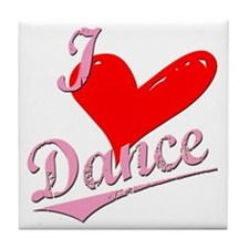 I Love to new heart Dance Tile Coaster