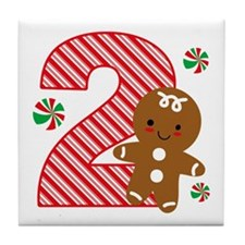 Gingerbread Boy 2nd Birthday Tile Coaster