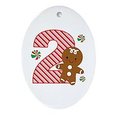 Gingerbread Boy 2nd Birthday Ornament (Oval)