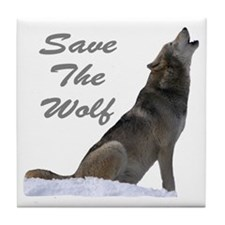 save the wolf Tile Coaster