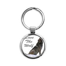save the wolf Round Keychain
