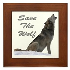 save the wolf Framed Tile