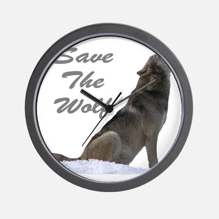 save the wolf Wall Clock