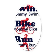 triathlonMommy---blue-red-with-ico Oval Car Magnet