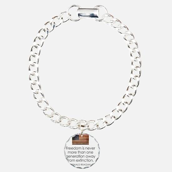 Reagan Quote on Freedom Charm Bracelet, One Charm