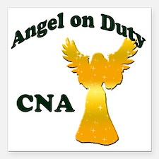 "Angel on duty cna copy Square Car Magnet 3"" x 3"""