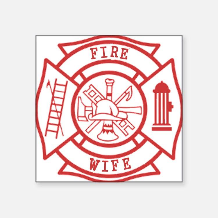 """fire wife maltese cross Square Sticker 3"""" x 3"""""""