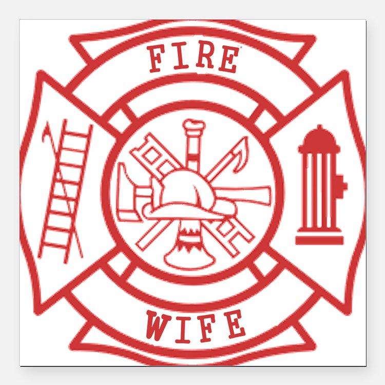 "fire wife maltese cross Square Car Magnet 3"" x 3"""