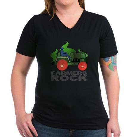 farmersRockLite Women's V-Neck Dark T-Shirt