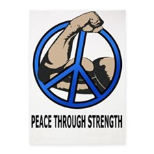 Peace-through-strength-text-6-11-10 5'x7'Area Rug