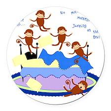 Five Little Monkeys Round Car Magnet