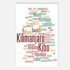 wordle 5 dark kilimanjaro Postcards (Package of 8)