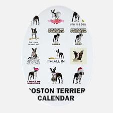 Boston Terrier Calendar Oval Ornament