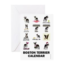 Boston Terrier Calendar Greeting Card