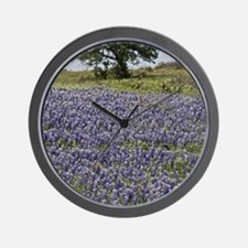 BlueBonnetsAndTree Wall Clock