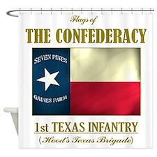 1st Texas Inf (Flag 3) Shower Curtain