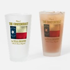 1st Texas Inf (Flag 3) Drinking Glass