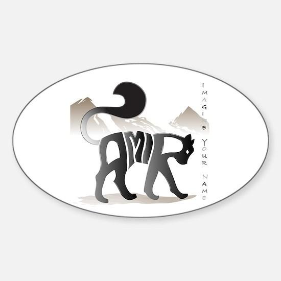 Amir black cat Oval Decal