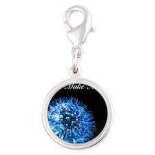Biolumenescent Dandelion2 Silver Round Charm