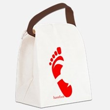 runbarefoot small left WHT Canvas Lunch Bag