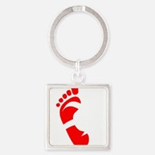 runbarefoot small left WHT Square Keychain