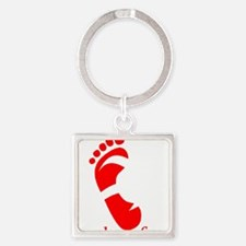runbarefoot mid WHT Square Keychain