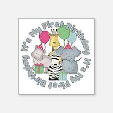 "baby zoo buddies birthday Square Sticker 3"" x 3"""