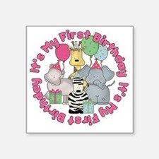 "baby zoo buddies birthday2 Square Sticker 3"" x 3"""