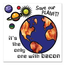 "bacon-planet Square Car Magnet 3"" x 3"""