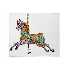 Galloping carousel horse Throw Blanket
