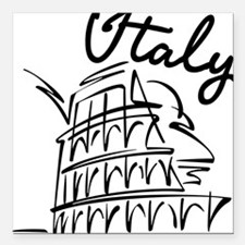 "italy Square Car Magnet 3"" x 3"""