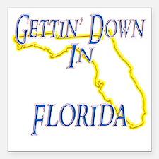 "Florida - Gettin Down Square Car Magnet 3"" x 3"""