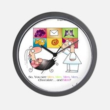 MEN AND CHOCOLATE by April McCallum Wall Clock