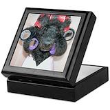 Black poodle Keepsake Boxes