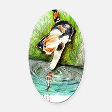 Lucky Cat and Lucky Fish Oval Car Magnet