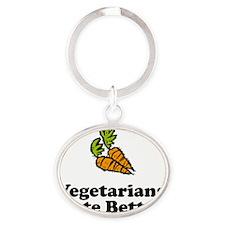 ART Vegetarians Taste Better carrots Oval Keychain