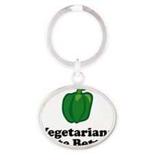 ART Vegetarians Taste Better green p Oval Keychain