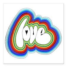 "Rainbow Love Acid Square Car Magnet 3"" x 3"""