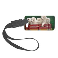 wagonload_of_samoyed_puppies-wid Luggage Tag