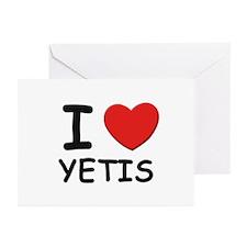 I love yetis Greeting Cards (Pk of 10)