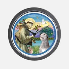 ORN-St Francis - Irish Wolfhound Wall Clock
