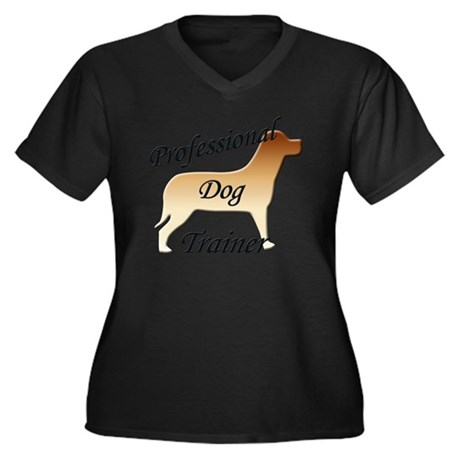 pro dog trai Women's Plus Size Dark V-Neck T-Shirt