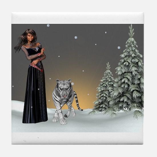 Morning Snowfall Tile Coaster