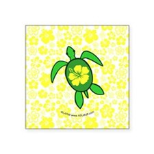 "FlwrhawaiiTurtleBbt Square Sticker 3"" x 3"""